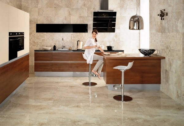Marble floor at home kitchen counter stool woman wood beige brown gloss