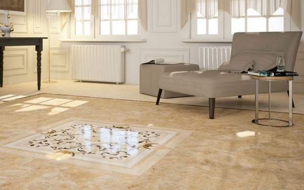 Marble floor at home living room beige baroque pattern center room Sun window