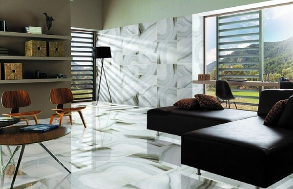 Marble floor at home living room luxury marble wall paneling corner leather wall shelf