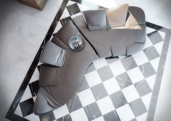 Marble floor at home looking up chess pattern couch design form organic leather modern