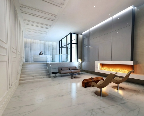 Marble floor at home modern villa entrance hallway lounge staircase white gray decorative fireplace