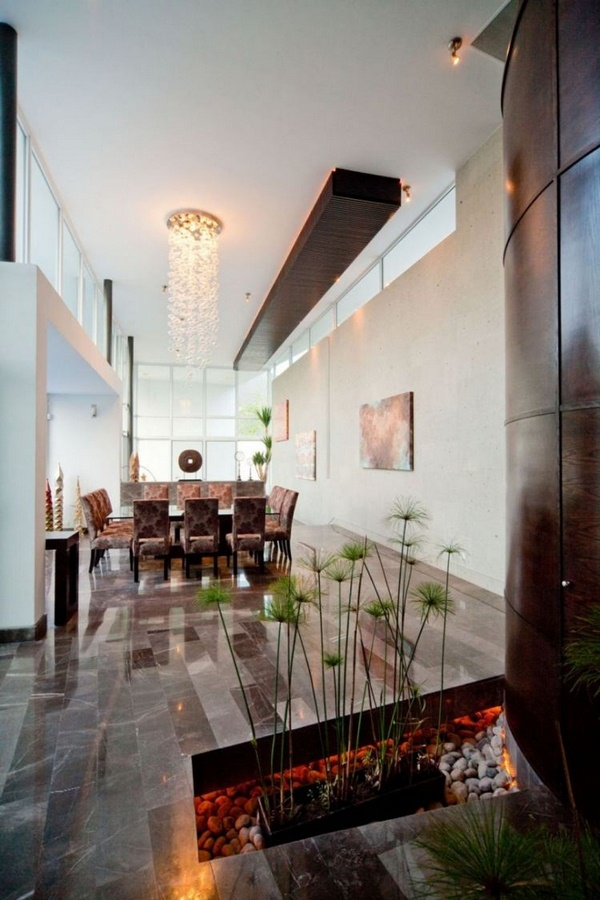 Marble floor at home neo modern black and white indirect lighting dining chairs