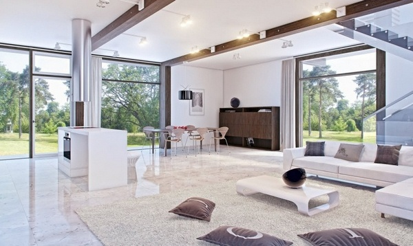 Marble floor at home white living room sofa dining table open modern architecture interior