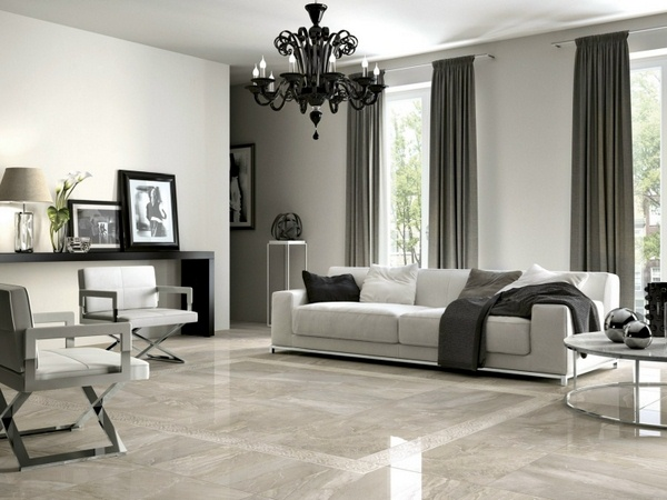 marble floor modern stylish black chandelier at home living room
