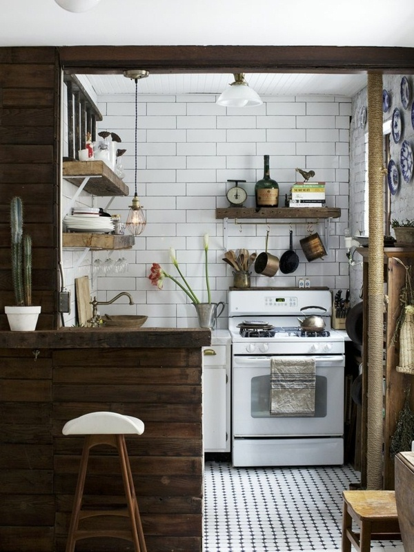 Simple wooden country house kitchens