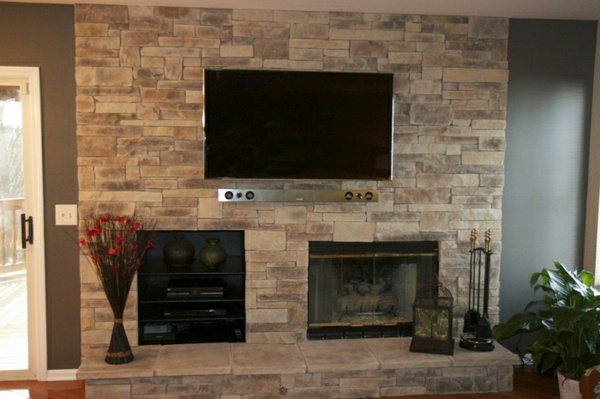 Wall panels set designed Living Room TV Wall TV wall stone effect wall panels