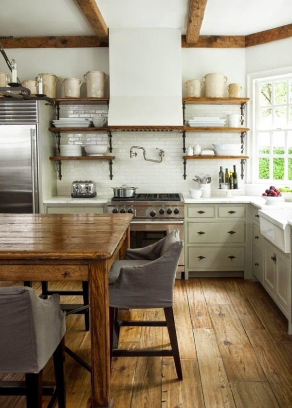 White rustic kitchen wood