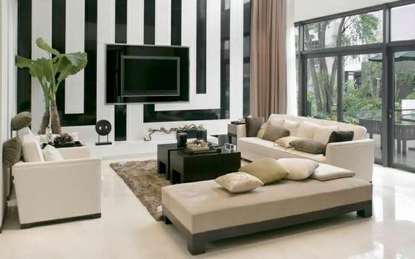 gorgeous elegant drawing room interior design black and white tv wall panel modern khaki sofa set - Wall Panels Interior Design