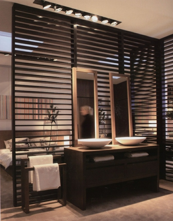 room dividers made of wood two elegant mirror in the bathroom