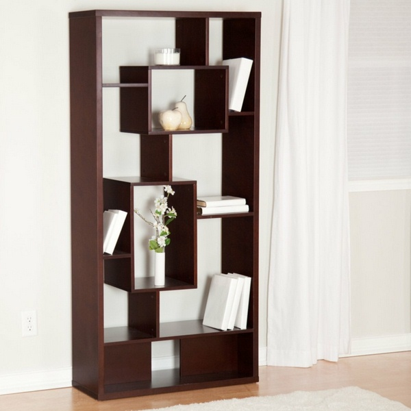 room dividers made of wooden shelf whitewall