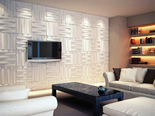 Tv wall panel 35 ultra modern proposals decor10 blog for Living room 3d tiles