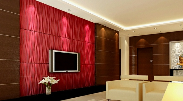 Set Design Living Room Wall Panels TV 3d