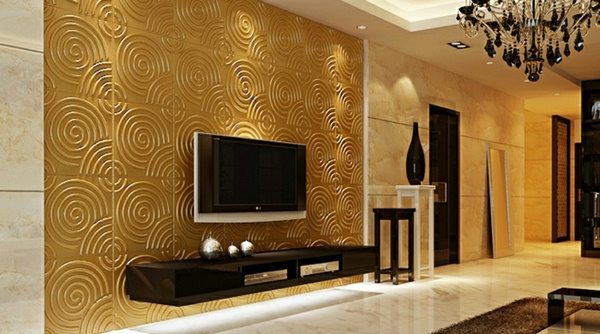 Set Design Living Room Wall Panels TV 3d 1