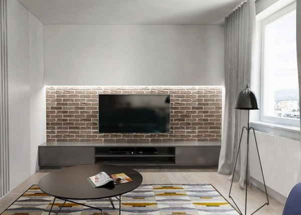 Wall decoration living brick wall LED Strip gray sideboard