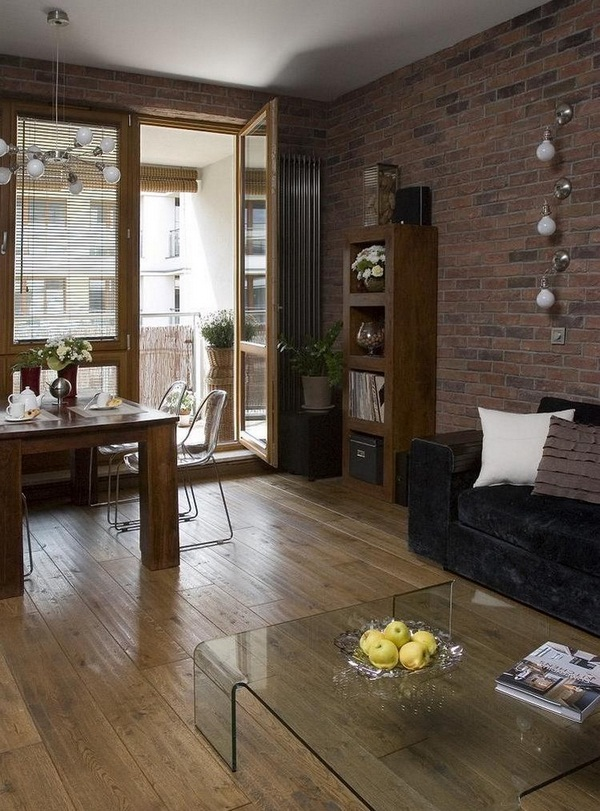 Wall decoration living brick wall wood floorboards dark