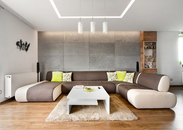 Wall decoration living concrete look wall panels brown sofa