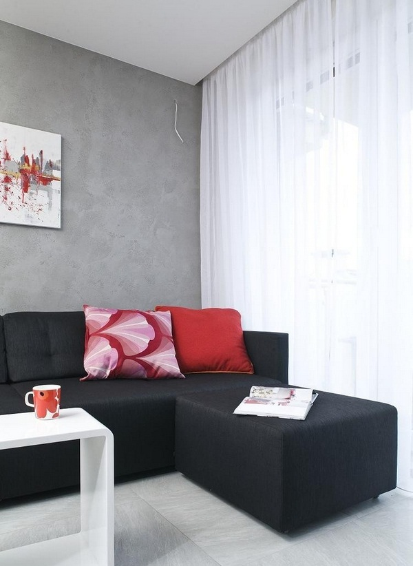 Wall decoration living concrete visual effect color black sofa