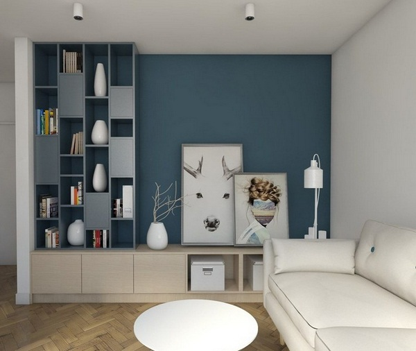 Wall living colour blue-gray light brown wood White sofa