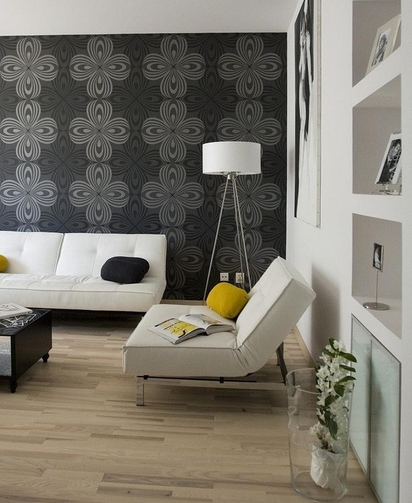 Wallpaper wall decoration living anthracite gray White Furniture