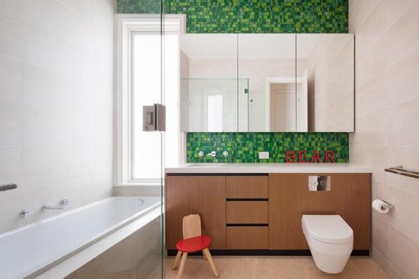 Mosaic tiles Green Mediterranean Bathroom Ideas