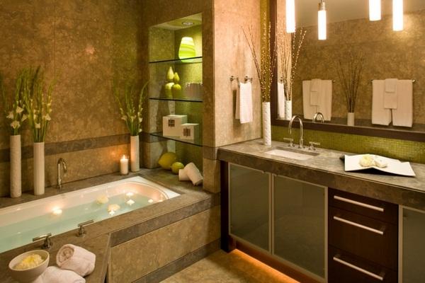 Mosaic tiles green Base cabinet built-in washbasin