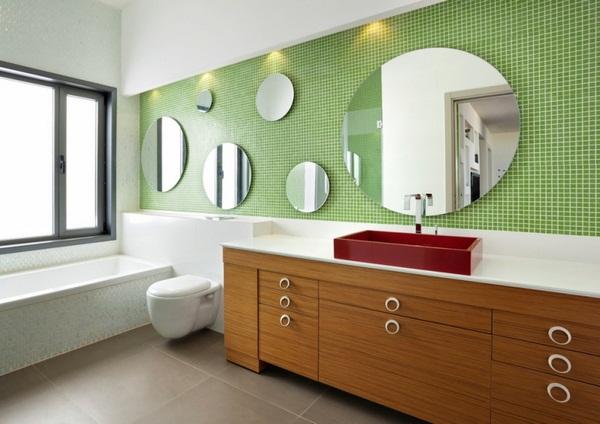 Mosaic tiles green bathroom cabinet wood