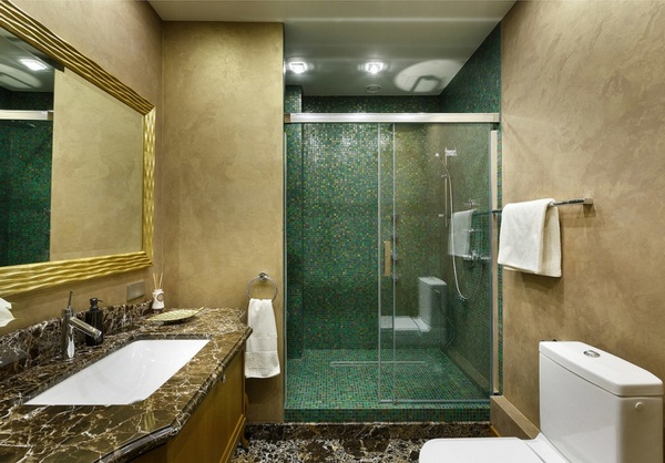 Mosaic tiles green bathroom design shower ideas