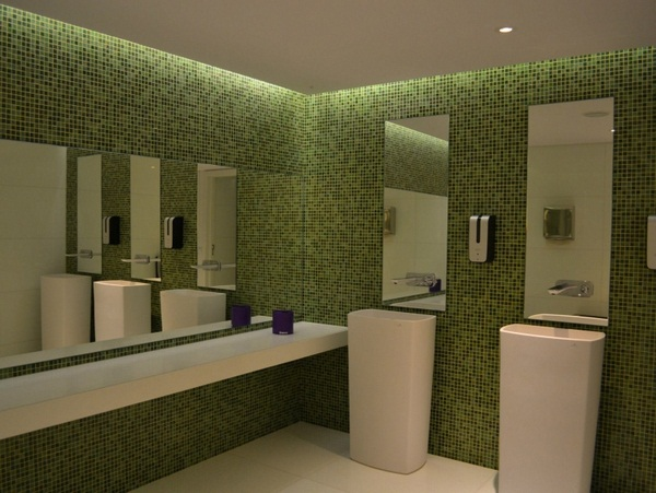 Mosaic tiles green bathroom design white furniture