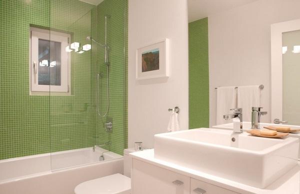 Mosaic tiles green counter basin ceramic