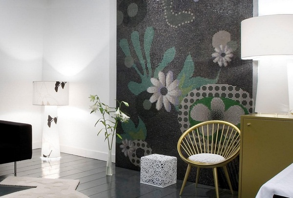 Mosaic tiles green floral pattern make modern living room