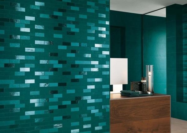 Mosaic tiles green glass countertop basin floor-level shower