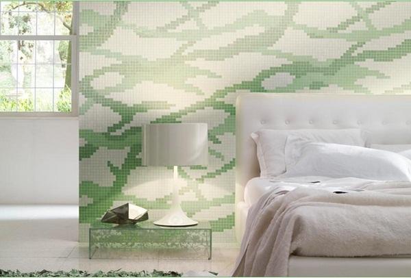 Mosaic tiles green glittery surface bathroom corner wooden furniture
