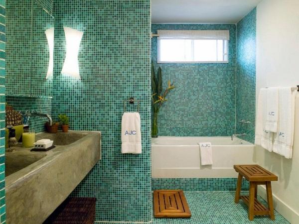 Mosaic tiles green kitchen rear wall ideas modern apartment