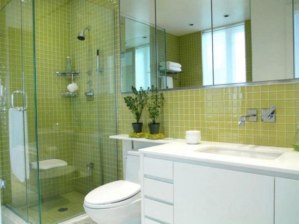 Mosaic tiles green modern bright bathroom wooden furniture
