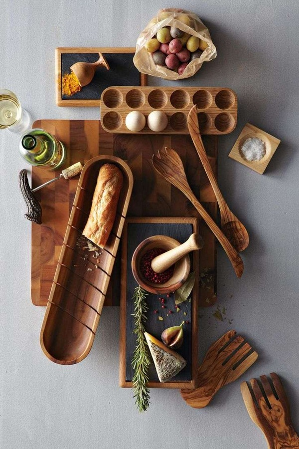 Home accessories olive wood spoon kitchen cutting board schuessel egg holder