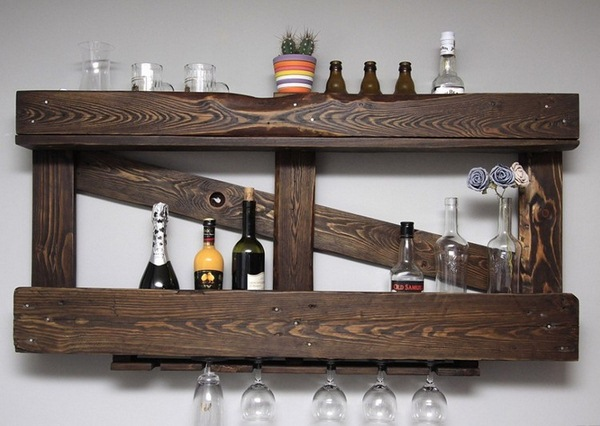 Home accessories wood wall kitchen wine rack glass holder