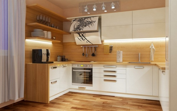 Kitchen wood wall counter top wooden floor white fronts