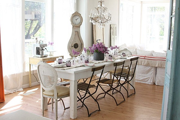 Cafe chairs in a French farmhouse dining room