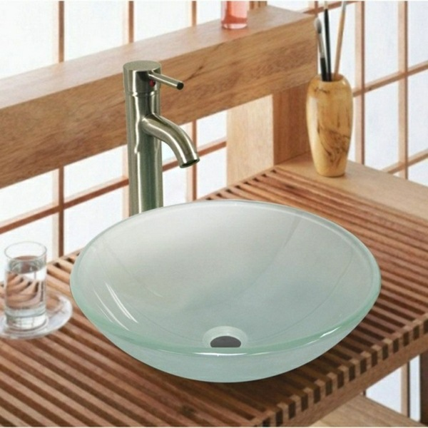 Glass sink bamboo