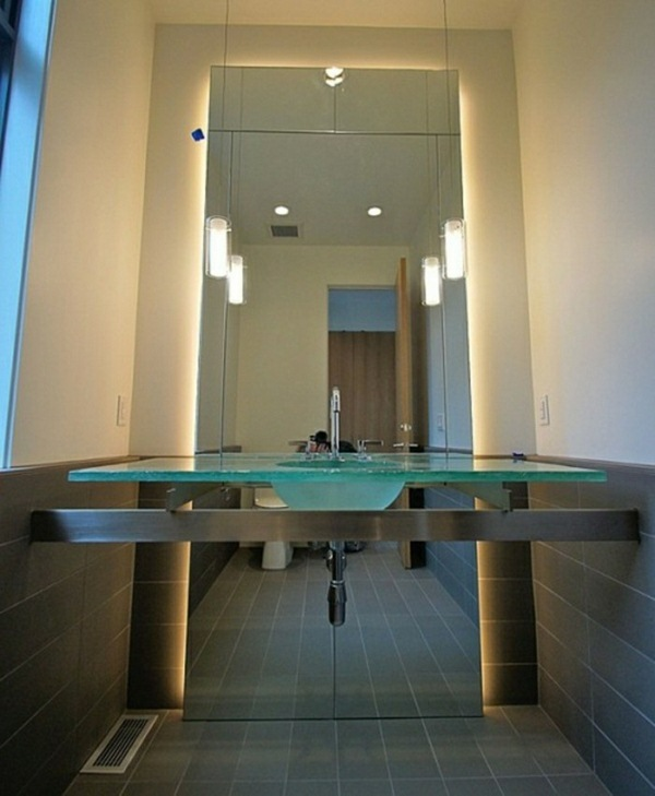 Glass sink bathroom with lighting