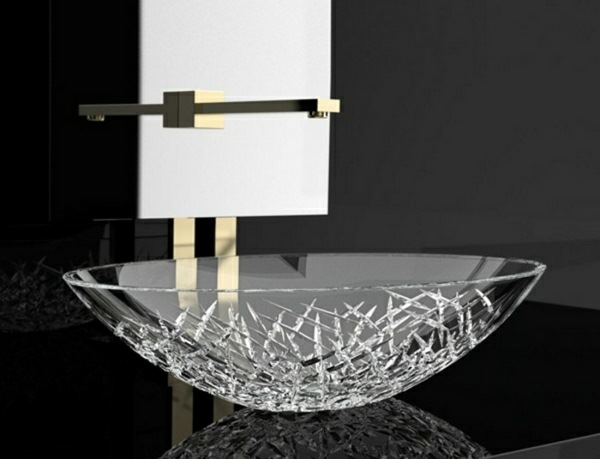 Glass sink crystal modern design
