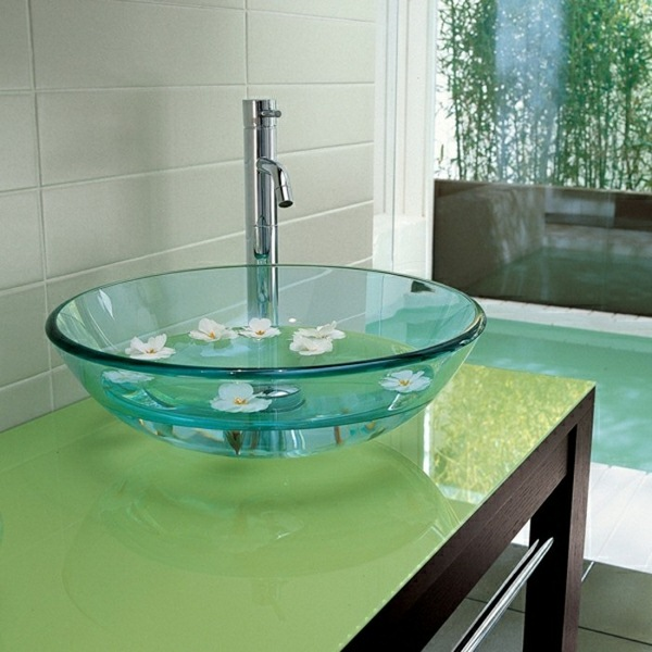 Glass sink gloss optic green color