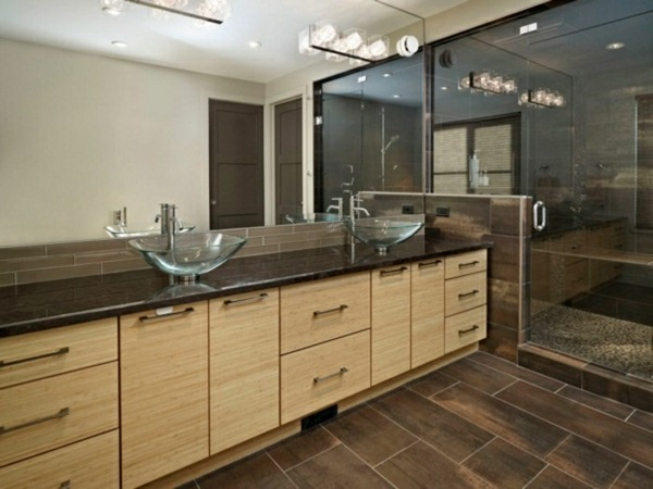 Glass sink wood vanity unit