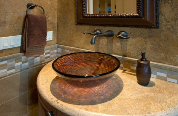 Glass sinks beige natural stone