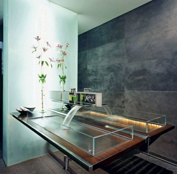Glass washbasin wall stone wall design