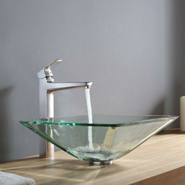 Glass washbasin with a modern design for small bathroom