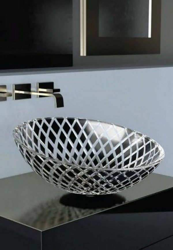 Glass washbasins black lacquer optics