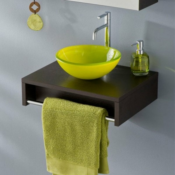 Glass washbasins green cloth
