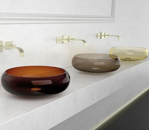 Glass washbasins three models