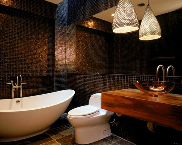 Glass washbasins wood and bathtub
